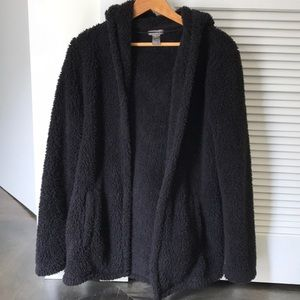 Light Wight Hooded Sherpa Cardigan
